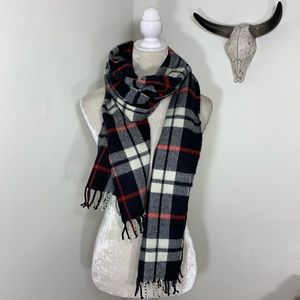J crew • plaid flannel fringe scarf
